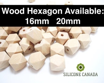 Wooden Hexagon (16mm/20mm) - Natural Wood Hexagon Beads for Nursing Necklace Teething Necklace Organic Necklace