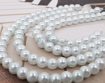 8MM White Glass Pearls (28) White Glass Pearl Beads GL1001