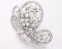 Rhinestone Pearl Butterfly Brooch Embellishment Bridal Bouquet Broaches Gown Sash Hair Comb Cake Decor DIY Crafts Pearl Butterfly Broach