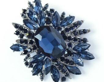 Navy Blue Bridal Sash Brooch, Navy Blue Brooch, Midnight Blue Wedding Brooches, Navy Wedding Cake Brooch, Dark Blue Broaches