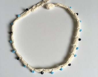 "Crochet Lace Beaded Choker Necklace - 14"" Crochet Black and Light Blue Women's Teen Beaded Cream  - No Metal"