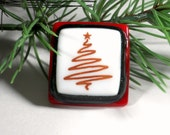 Red and White Christmas Tree Brooch Pin, Fused Glass Jewelry, Gift for Her, Gift For Teacher