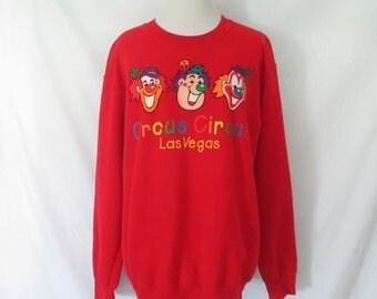 Vintage Circus Circus Sweatshirt Las Vegas Shirt Clown Sweatshirt Kitschy Novelty Vegas Shirt 80's 90's Sweatshirt Red Clown Shirt