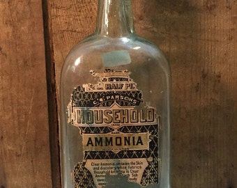 Antique Glass Bottle 'Household Ammonia'