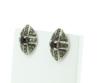 Silver Garnet and Marcasite Earrings  SKU681