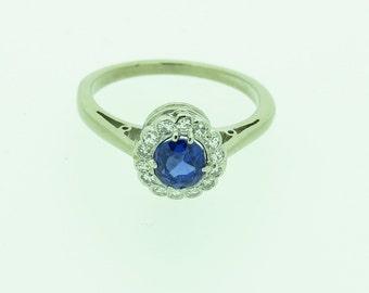 A Beautiful Kashmir Blue Sapphire And Diamond Ring (SKU66)