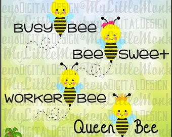 Queen Bee, Worker Bee, Busy Bee, Bee Sweet, Cute Bee Set Clipart and Cut File Instant Download Full Color 300 dpi Png SVG EPS DXF