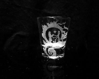 Nightmare Before Christmas inspired -Jack Skellington and Sally Shot Glass