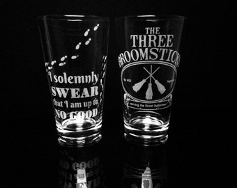 Harry Potter Pint Glasses - Set of 2- I Solemnly Swear That I Am Up To No Good -The Three Broomsticks