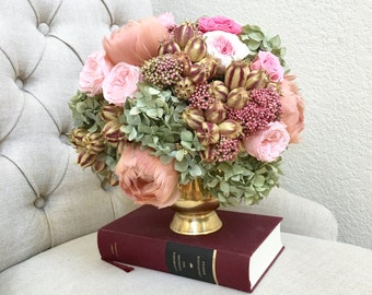 CUSTOM Made to Order  - Preserved Flower Arrangements - Hydrangea, English roses, Feather tulips   - Wedding, and Home Decor