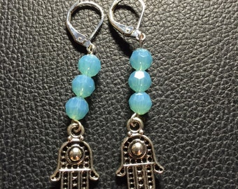 Hamsa earrings with turquoise-ish glass crystal beads - lever back style