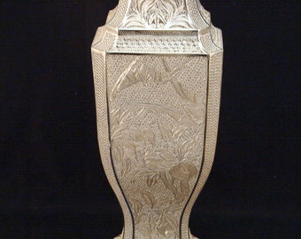 Suhai Chinese Sterling Silver Filigree Limited Edition Handmade Bat Vase