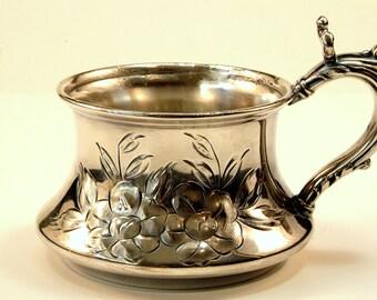 1890's Antique Vintage Silverplate Hand Chased Shaving Mug by Van Bergh