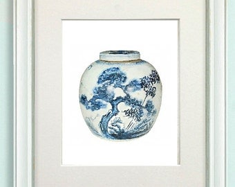 Chinese Blue and White Ginger Jar with Prunus Branches Art Print From Watercolor Home Decor Pic No 127