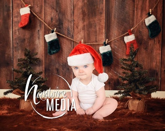 Baby, Toddler, Child, Christmas Tree with Stockings Holiday Photography Digital Backdrop Prop for Photographers with Wood Background
