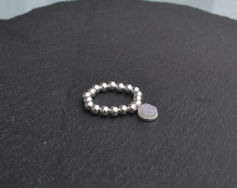 Sterling Silver Stretch with White Sparkly Charm