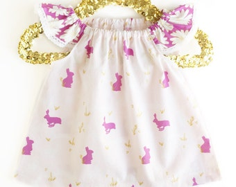 Baby Girl Dress - Bunny Girls Dress - Pink Toddler Dress - Pink Baby Dress - Pink Girls Dress - White Baby Dress - White Girls Dress