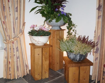 Collection of all 3, (the Taller, Medium and Shorter) Solid Oak, Copper Riveted Plant Stands / Occasional Tables