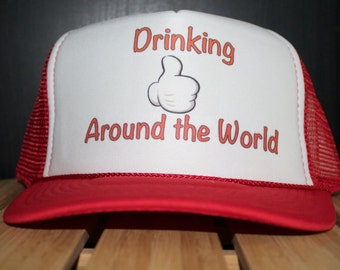 Perfect Drinking around the world Trucker hat. Perfect for your next EPCOT outing. Drinking Disney Trucker Cap!
