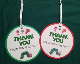 The Hungry Caterpillar Thank You Tags, Favor Tags, Hungry Caterpillar Decorations