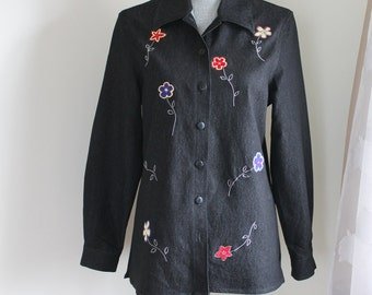 Black Embroidered Shirt by TanJay, Long Sleeve Top Button Front Flower Motif, Size Small Unused Vintage with Tags