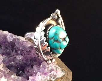 Sterling Silver Morenci Turquoise Ring Size 5.5