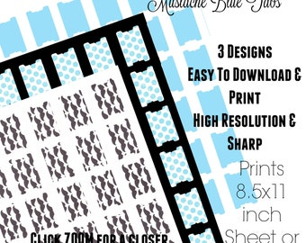 Mustache - Page Tabs - Journal Tabs - Planner Tabs - Project Planner Digital - Journal Printable - Page Flags - Book Tabs