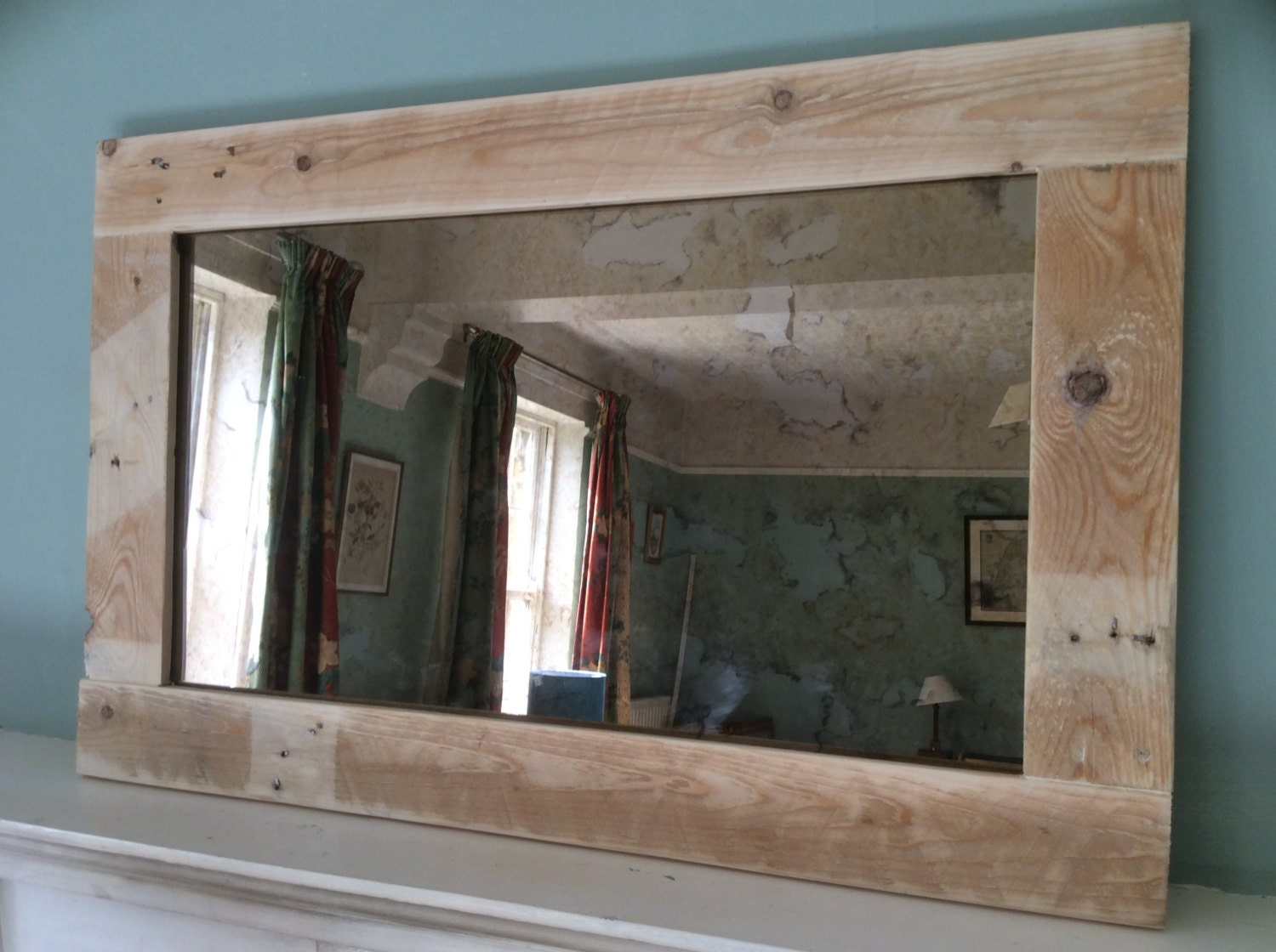 rustic mirror made from reclaimed pallet wood with bronze 20112