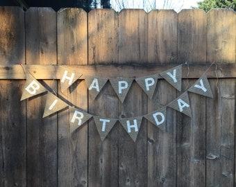HAPPY BIRTHDAY Burlap Banner - Customize!