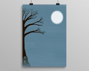Midnight Tree Digital Download Art 8x10