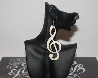 Wooden Earrings - Music Note