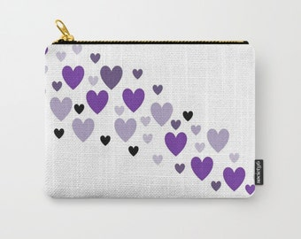 Hearts Purple Carry All Pouch Makeup Bag Coin Purse Ipad Case Ipad Pouch Pencil Case Birthday Gift College Student Gift Cosmetic Bag Makeup