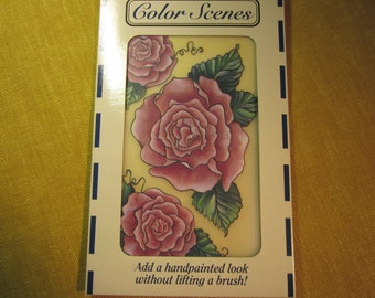 "Rub-on Transfers, Color Scenes,roses,5""x8"" sheet,3 designs, for wood,plastic,paper,glass, etc.,quick & easy"