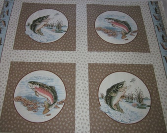 """VIP """"Gone Fishing"""" Crafters Corner, 1 yard fabric, 4 fish panels, 2 salmon, 2 bass ,lures,for pillows,wall hanging,quilting, 100% cotton,USA"""