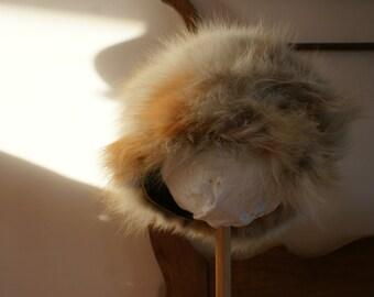 "Vintage 1960's Fox Fur Pill Box Millinery Hat 20.5"""