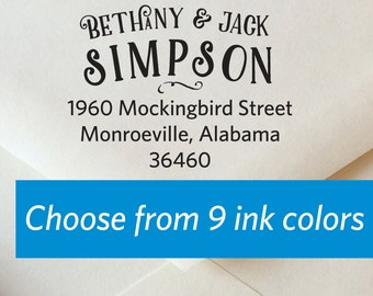 Wedding Stamp, Custom Rubber Stamp, Self Inking Stamp, Housewarming Gift, Calligraphy Stamp, Mockingbird Calligraphy Return Address Stamp
