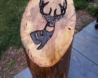 Hand carved tree stump