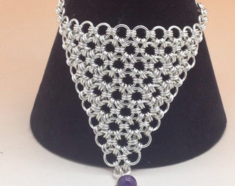 Sterling Silver Japanese Chainmaille Bracelet with Amethyst Bead, Hallmarked.