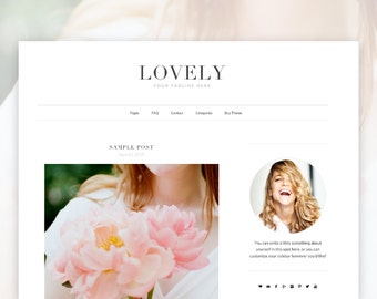 Lovely- Minimalist Wordpress Theme  — RESPONSIVE Wordpress Website Theme — Self-hosted Wordpress Blog Theme — Feminine Website