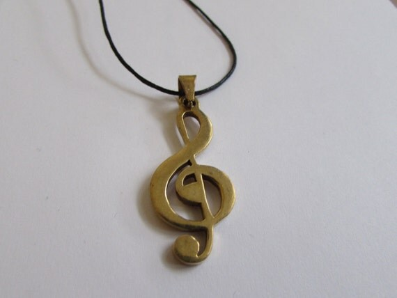 Music Clef Pendant On Wax Cord Adjustable Unisex Free UK Shipping + Gift Bag CH4