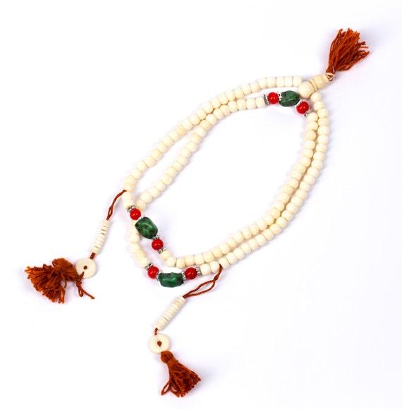 Mala Meditation Beads Yak Bone with Chupsi Counters 108 Mala beads Tribal Jewellery Prayer Beads Buddhist Free UK Delivery + Gift Bag