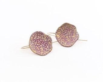 pink asymmetrical enamel earrings