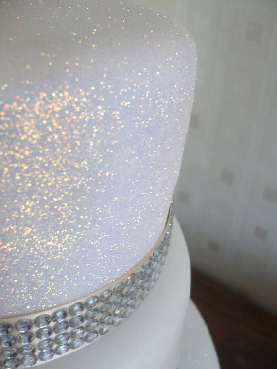 White Rainbow Cake Glitter Edible Sparkle for Party Cakes