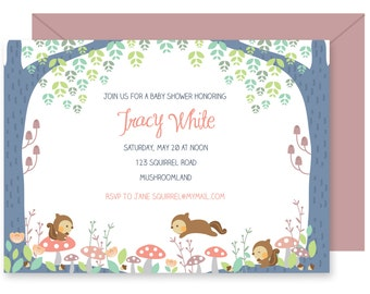 printable invitation, baby shower invitation, birthday invitation, squirrel, illustration
