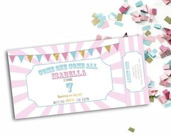 Birthday Carnival Ticket Invitation - digital download - instant download