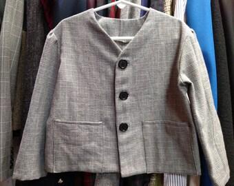 Black/White Houndstooth Tweed Jacket (Size 4)