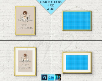 8x12 #W09 Fine Gold Portrait & Landscape Frames on Brick Interior wall, 4 Print Display Mockups, PNG PSD PSE, Opening 20x30cm, Custom colors