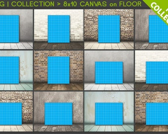 8x10 #C01 PNG Scene Collection Portrait & Landscape Stretched Canvas on Wooden Floors, 12 Print Display PNG scenes, 16x20 24x30, 20x25cm