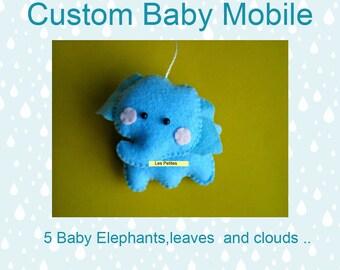 Baby Crib Mobile -  Custom Baby mobile - Nursery Forest Crib Mobile -Elephants baby mobile-Baby Mobile