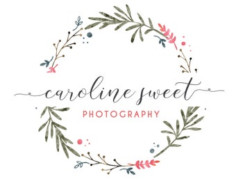 Logo and Watermark  - Floral Wreath -  Script Font - Professional Photography Logo Design - Watermark - Premade Logo Design - PL05